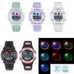 腕時計 レディース キッズ 5気圧防水 オーロラライト デジタルウォッチ 時計 ACY17 デジタル腕時計