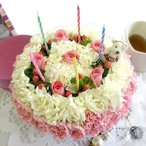誕生日 花 サプライズ ギフト かわいい フラワーケーキプリティ キャンドルセット  ケーキボックス入り