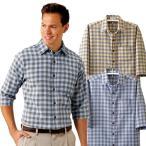 ショッピング柄 格子柄7分袖シャツ 3色組 メンズ 七分袖 格子柄 綿100% ポケット付 カジュアルシャツ 春夏 50代 60代 957428