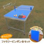 折りたたみファミリーピンポン台セット 持ち運び取っ手付コンパクト卓球台 卓球ラケット×2 卓球ボール×3 TAN-595
