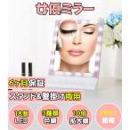 女優ミラー10倍拡大鏡 化粧鏡LEDライト付きスタンド/壁掛け 明るさ3種類調節可能 18個LED電池給電/USB給電