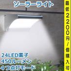 ソーラーライト 450lm マイクロ波人感センサー搭載 24個LED 4種照明モード 防水防犯 屋外玄関芝生車道ガーデン庭などに照明用