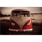 アメリカン雑貨★ポスター  VW Red Kombi フォルクスワーゲン ワーゲンバス おしゃれ雑貨 インテリア-HA0023