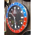 アメリカン雑貨 シンプルでオシャレなロレックス風 アナログ時計 掛時計 ウォールクロック RAREX BLUE×RED-HS0118