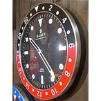 アメリカン雑貨 シンプルでオシャレなロレックス風 アナログ時計 掛時計 ウォールクロック RAREX BLACK×RED-HS0119