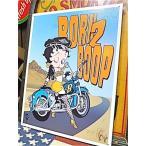 ベティ・ブープ★アメリカン雑貨★ベティちゃん グッズ ブリキ看板 メタルサイン ベティ・ブープとバイク Betty Boop-MD0003