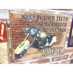 アメリカン雑貨★ブリキ看板 メタルサイン バイク Ride on 激しい刺激-MD0017