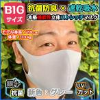大きい抗菌速乾ストレッチポリウレタン【グレー2枚】抗菌速乾ストレッチ2枚セット 女性サイズXL 男性サイズL 大きめマスク 大きいマスク でかいマスク