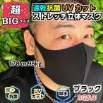 大きい抗菌速乾ストレッチポリウレタン【ブラックー2枚】抗菌速乾ストレッチ2枚セット 女性サイズXL 男性サイズL 大きめマスク 大きいマスク でかいマスク