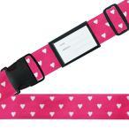 (同梱・代引き不可)スーツケースベルト ワンタッチベルト ハートドット柄 ピンク
