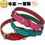 (名前入れ無料)革 犬用首輪 カラフル本牛革+中型犬用首輪+