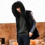 毛皮コート ファーコート メンズ ロッグコート フォクス フェイクファー フード付き 素材切り替え おしゃれ 上着 暖かい 秋冬 防寒