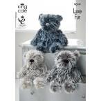 ショッピングDaddy ぬいぐるみ  King Cole Luxe Fur Knitting Pattern Baby Mummy Daddy Teddy Bear Family 9019
