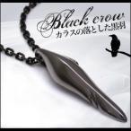 ショッピングCROW ブラスアクセサリー ネックレス・ペンダント メンズ ブラック カラス・烏 フェザー・羽 pe1754 c0082-50cmチェーン付き