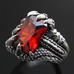 送料無料  シルバーアクセサリー シルバーリング 指輪 メンズ リング ドラゴン レッド・赤 r0464