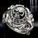 戒指 - \送料無料!/シルバーアクセサリー シルバーリング 指輪 メンズ スカルリング ブラック・黒 r0487
