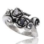 メール便なら送料無料  シルバーアクセサリー シルバーリング 指輪 メンズ リング 薔薇 ジルコニア r0515