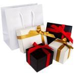 其它 - 有料ラッピング ギフトボックス ホワイト ブラック リボンを巻いた光沢のある箱 手提げ袋付き so0000