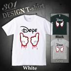 Tシャツ メンズ 半袖 ブランド ユニセックス DOPE ドープ スラング Mickey hands HIP HOP ヒップホップ カワイイ おしゃれ Uネック プリントTシャツ