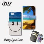 iPhone7 iPhone7Plus iPhone6 6s 6plus カバー 手帳型ケース 「スマイル アロハ ビーチ ハワイ にこちゃん」 手帳ケース レザー Diary