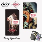iPhone7 iPhone7Plus iPhone6 6s 6plus カバー 手帳型ケース 「VINTAGE Native American ネイティブ インディアン feather フェザー」 手帳ケース レザー