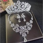 ネックレス 結婚式 王冠 アクセサリー ヘッドドレス キラキラ ティアラ セット 2020 イヤリング ウェディング ピアス ストーン 女性