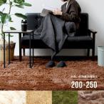 シャギーラグ - ふわもこ シルキーシャギーラグ(FSシャギーラグ)200×250cm アイボリー ベージュ ブラウン グリーン