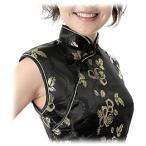 チャイナドレス・ノースリーブミニ・薔薇(黒)【Lサイズ】華やかでかわいい薔薇柄。友達どうしでチャイナカラオケ。盛り上がること間違いない。送料無料