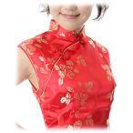 チャイナドレス・ノースリーブミニ・薔薇(赤)【Lサイズ】華やかでかわいい薔薇柄。友達どうしでチャイナカラオケ。盛り上がること間違いない。送料無料
