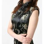 激安・チャイナドレス・ノースリーブ・ロング・薔薇(黒)【Lサイズ】華やかでかわいい薔薇柄。まだまだ韓流ブーム!!ヨン様もチャイナ好きかも!?送料無料。