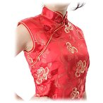 チャイナドレス・ノースリーブ・ロング・薔薇(赤)【Lサイズ】華やかでかわいい薔薇柄。まだまだ韓流ブーム!!ヨン様もチャイナ好きかも!?送料無料。