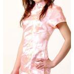 激安・チャイナドレス・コスプレ・袖付ロング・薔薇(ピンク)【Mサイズ】華やかでかわいい薔薇柄。韓流よりも中国ブーム!?送料無料。