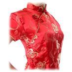 激安・チャイナドレス・コスプレ・袖付ロング・薔薇(赤)【Lサイズ】華やかでかわいい薔薇柄。韓流よりも中国ブーム!?送料無料。