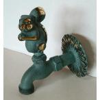 真鍮製 動物水栓 蛇口 リス ホースコネクター付き