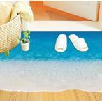 ウォールステッカー 青い海の砂浜 フロア用シール 清々しい 海岸 ビーチ 床がシーブルーに