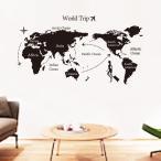 Yahoo!41ウォールステッカーウォールステッカー 世界地図 ワールドトリップ 壁シール オシャレな モノトーン 剥がせる 旅行 黒色