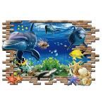ウォールステッカー 飛び出す 海底のイルカ 3D 壁シール 魚 水族館気分 はがしやすい 海の生き物