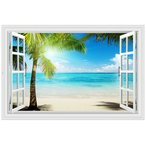 ウォールステッカー 窓 ヤシの木とビーチの風景 水平線 壁シール 南の島 真夏の眩い日差し