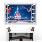 ウォールステッカー 窓 冬のシンデレラ城 壁シール 雪 ミッキーマウス 風船 輝く 星空の下のお城