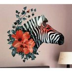 ウォールステッカー シマウマの頭と赤い花 壁シール お洒落な ゼブラ柄 貼り直せる 縞馬
