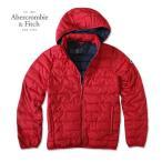 アバクロ Abercrombie メンズ 軽量ダウンジャケット Light Weight  Puffer Jacket ab688 レッド フード取り外し可能