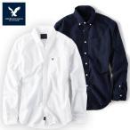 アメリカンイーグル メンズ カジュアル シャツ AE SHIRT・メンズ長袖 ボタンシャツ 白 紺 シャツ ネイビー ae1900