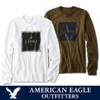 アメリカンイーグル メンズ  ロングTシャツ ae300 ホワイト オリーブ 送料無料