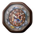 ワンピースからくり 掛け時計 4MH880-M06 ブラウン キャラクター