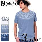ショッピング柄 Tシャツ メンズ Tシャツ 半袖 ネイティブ柄 インディゴ