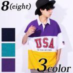ラガーシャツ メンズ シャツ USA ロゴ ボーダー ビッグシルエット