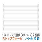 ストックフォーム 15×11インチ 2枚複写 罫線入(スリーライン) 1,000枚/箱