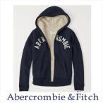 アバクロ メンズ パーカー Abercrombie&Fitch 正規品 裏ボア ロゴフルジップパーカー Sherpa Lined Logo Hoodie ネイビー