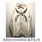 アバクロ メンズ パーカー Abercrombie&Fitch 正規品 アップリケ付きジップアップパーカー ホワイト