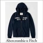 アバクロ メンズ パーカー Abercrombie&Fitch 正規品 ロゴ アップリケ フルジップ パーカー ネイビー